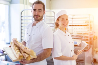 Team of bakers working at the bakery